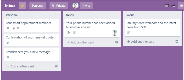 implementing the GTD idea of having an inbox in Trello