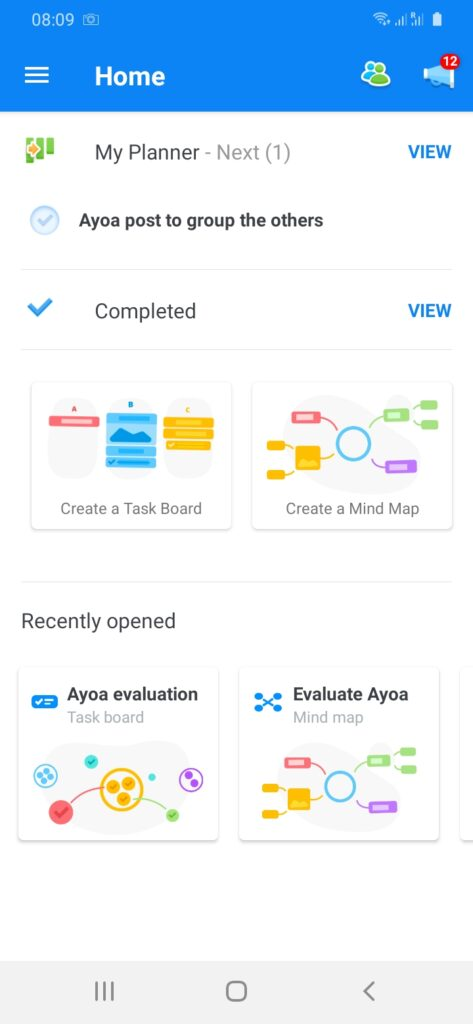 ayoa front screen on android
