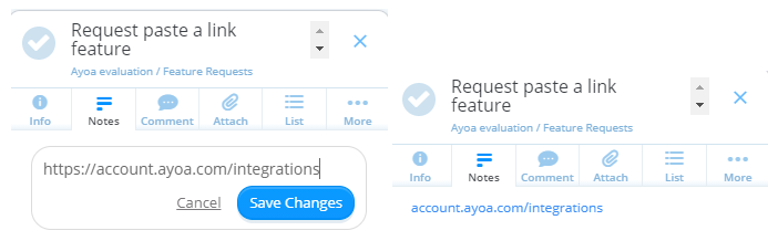 It would be nice to be able to use in-line links in ayoa task notes