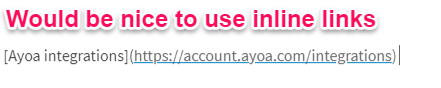 use inline links in ayoa task notes